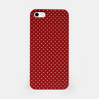 White Polka Dots On Dark Christmas Candy Apple Red iPhone Case imagen en miniatura
