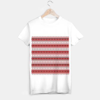 Dark Christmas Candy Apple Red Nordic Trees Stripe in White T-shirt regular imagen en miniatura
