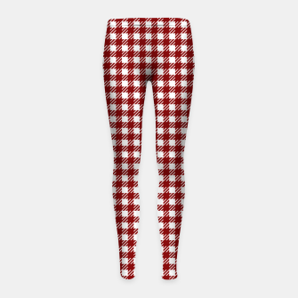 Imagen en miniatura de Dark Christmas Candy Apple Red Gingham Plaid Check Girl's leggings, Live Heroes