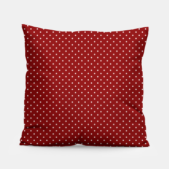 White Polka Dots On Dark Christmas Candy Apple Red Pillow imagen en miniatura