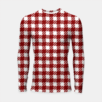 Large Dark Christmas Candy Apple Red Gingham Plaid Check Longsleeve rashguard  imagen en miniatura