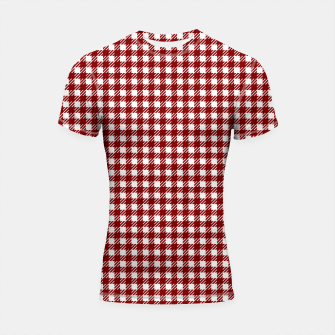 Imagen en miniatura de Dark Christmas Candy Apple Red Gingham Plaid Check Shortsleeve rashguard, Live Heroes