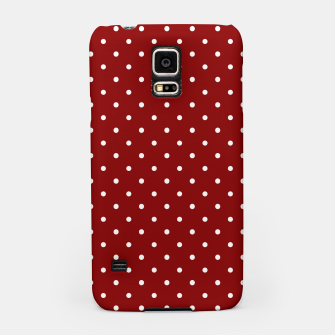 Large White Polka Dots On Dark Christmas Candy Apple Red Samsung Case imagen en miniatura