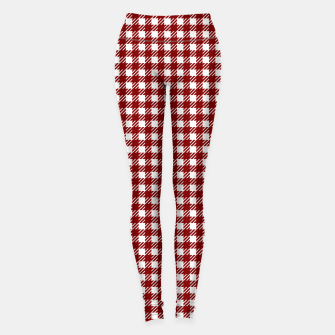 Imagen en miniatura de Dark Christmas Candy Apple Red Gingham Plaid Check Leggings, Live Heroes