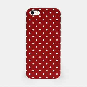Large White Polka Dots On Dark Christmas Candy Apple Red iPhone Case imagen en miniatura