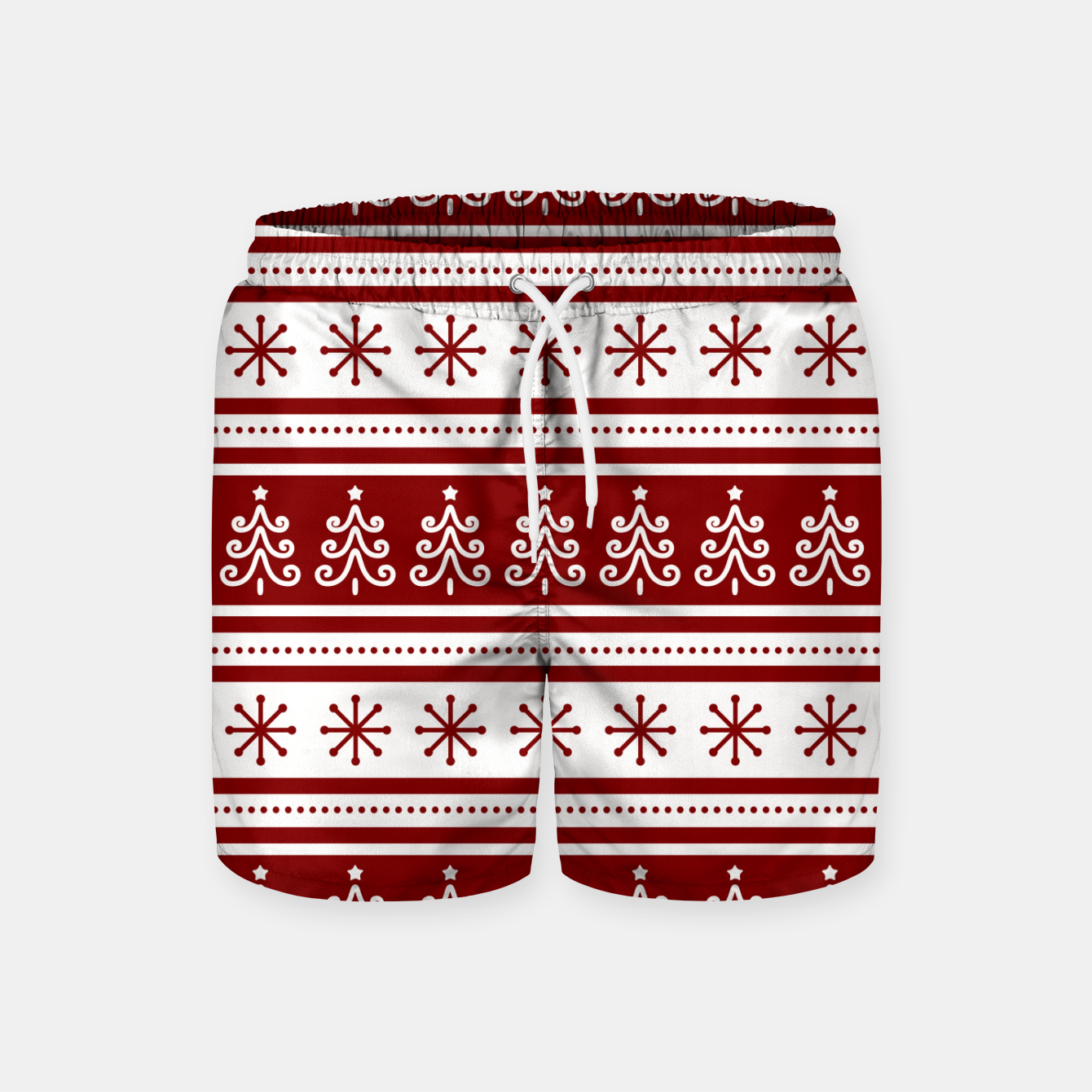 Imagen de Large Dark Christmas Candy Apple Red Nordic Trees Stripe in White Swim Shorts - Live Heroes