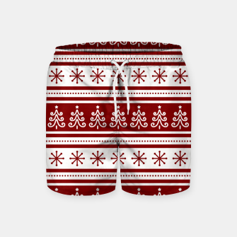 Large Dark Christmas Candy Apple Red Nordic Trees Stripe in White Swim Shorts imagen en miniatura