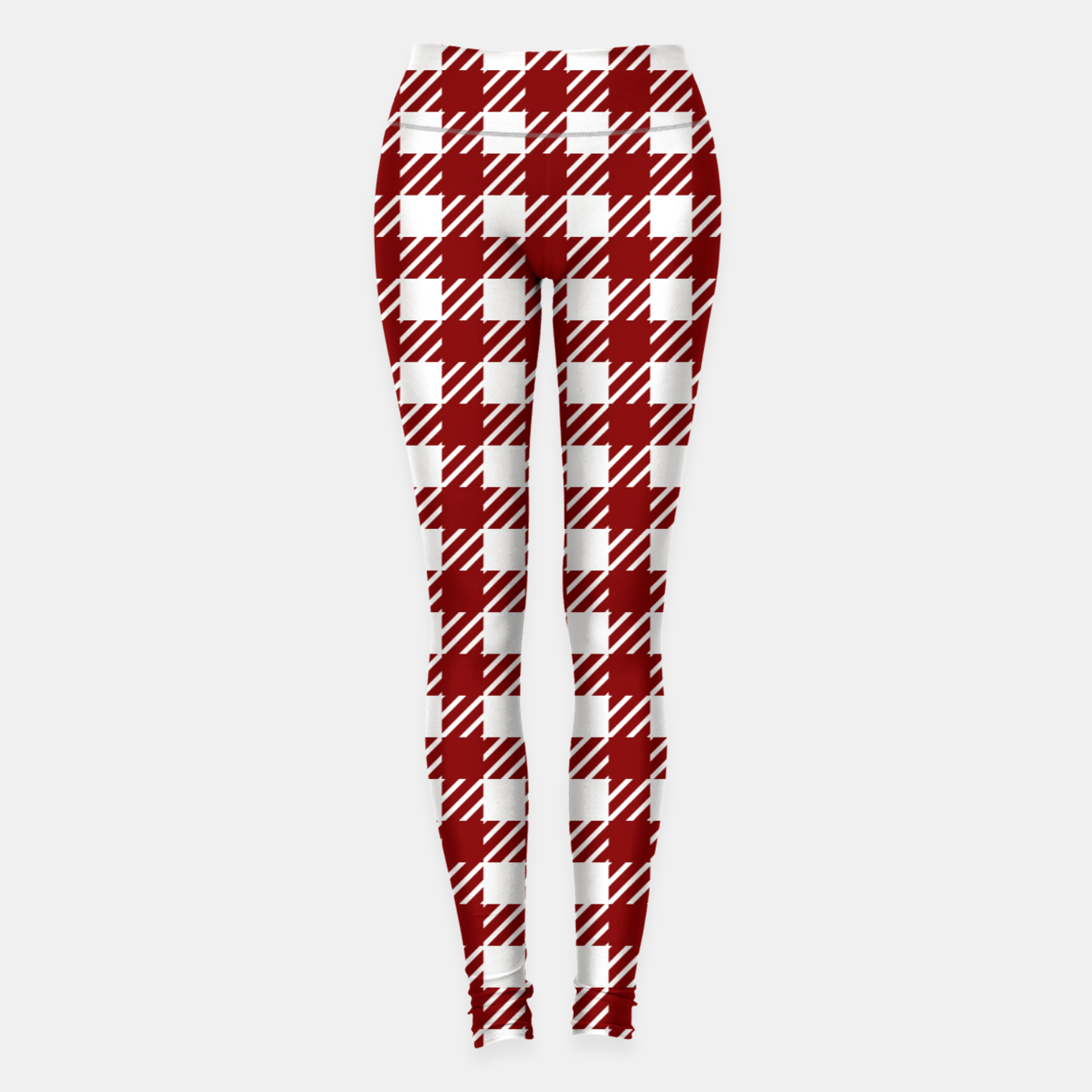 Imagen de Large Dark Christmas Candy Apple Red Gingham Plaid Check Leggings - Live Heroes