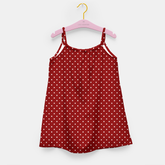 White Polka Dots On Dark Christmas Candy Apple Red Girl's dress imagen en miniatura