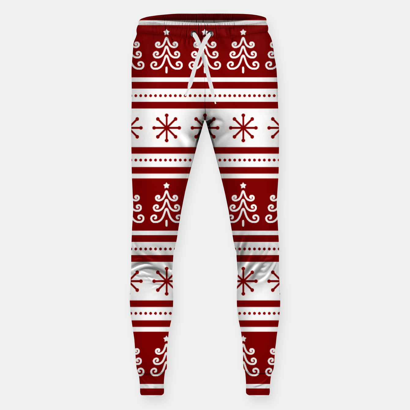 Imagen de Large Dark Christmas Candy Apple Red Nordic Trees Stripe in White Sweatpants - Live Heroes