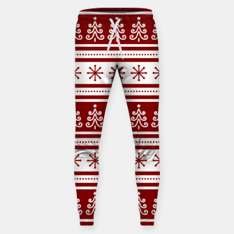 Imagen en miniatura de Large Dark Christmas Candy Apple Red Nordic Trees Stripe in White Sweatpants, Live Heroes