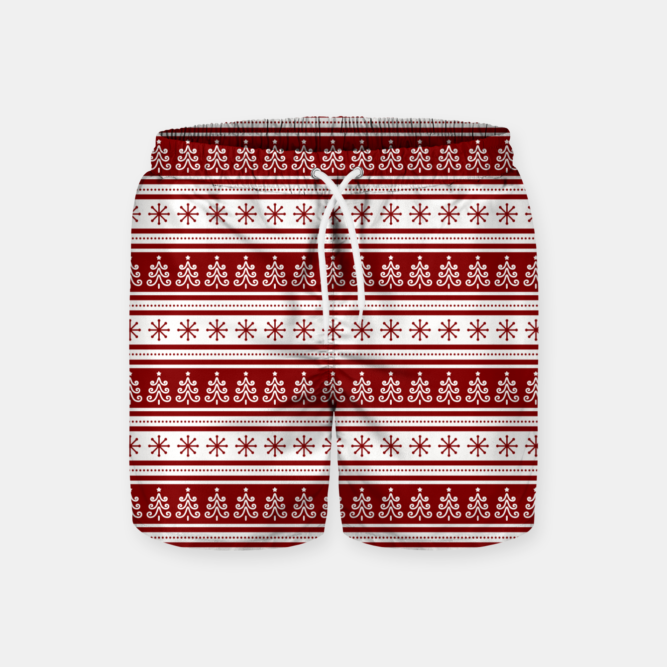 Imagen de Dark Christmas Candy Apple Red Nordic Trees Stripe in White Swim Shorts - Live Heroes