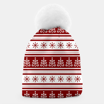 Large Dark Christmas Candy Apple Red Nordic Trees Stripe in White Beanie imagen en miniatura