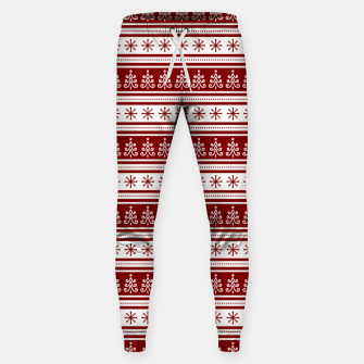 Dark Christmas Candy Apple Red Nordic Trees Stripe in White Sweatpants imagen en miniatura