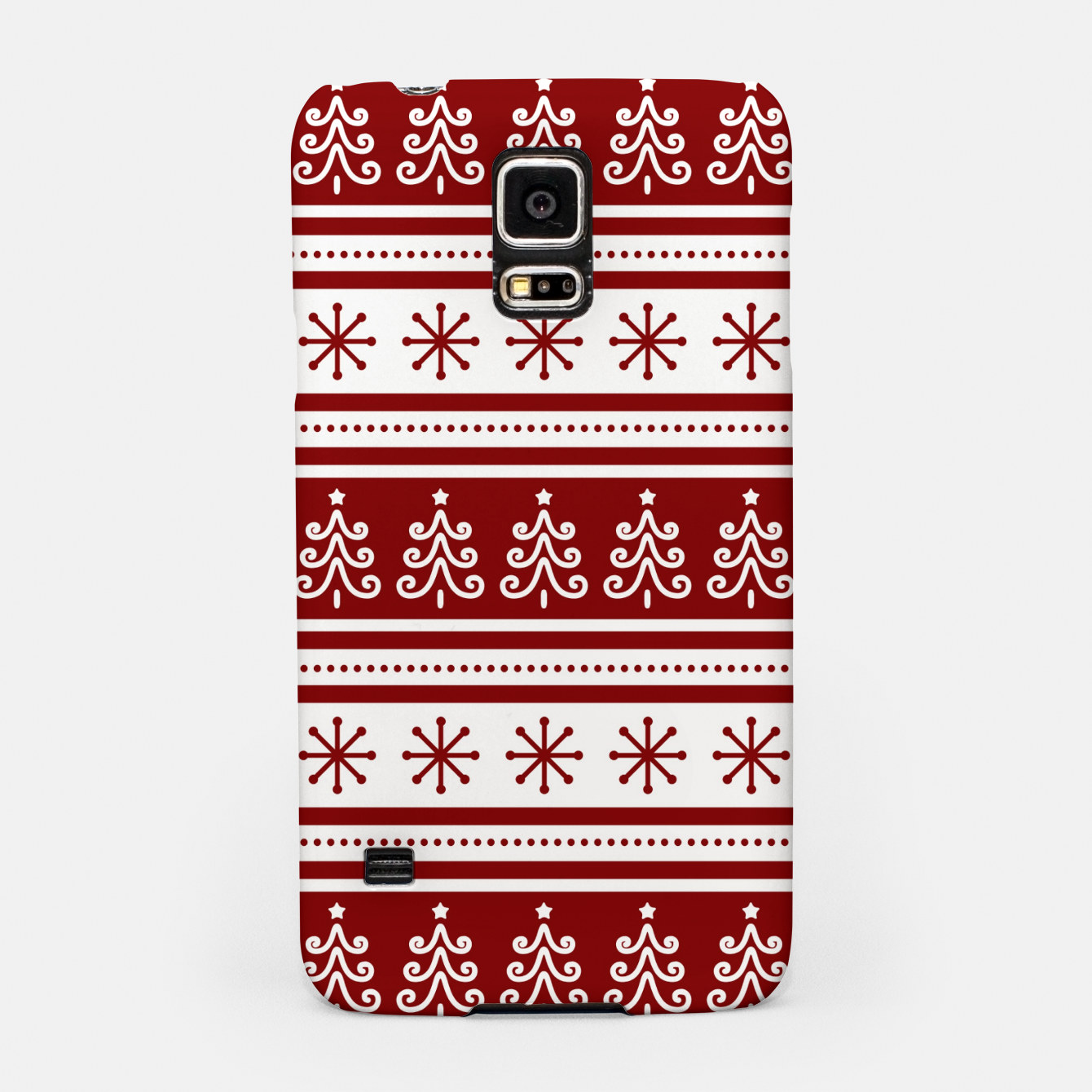 Imagen de Large Dark Christmas Candy Apple Red Nordic Trees Stripe in White Samsung Case - Live Heroes