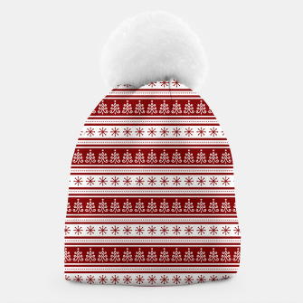 Dark Christmas Candy Apple Red Nordic Trees Stripe in White Beanie imagen en miniatura