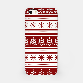 Large Dark Christmas Candy Apple Red Nordic Trees Stripe in White iPhone Case imagen en miniatura