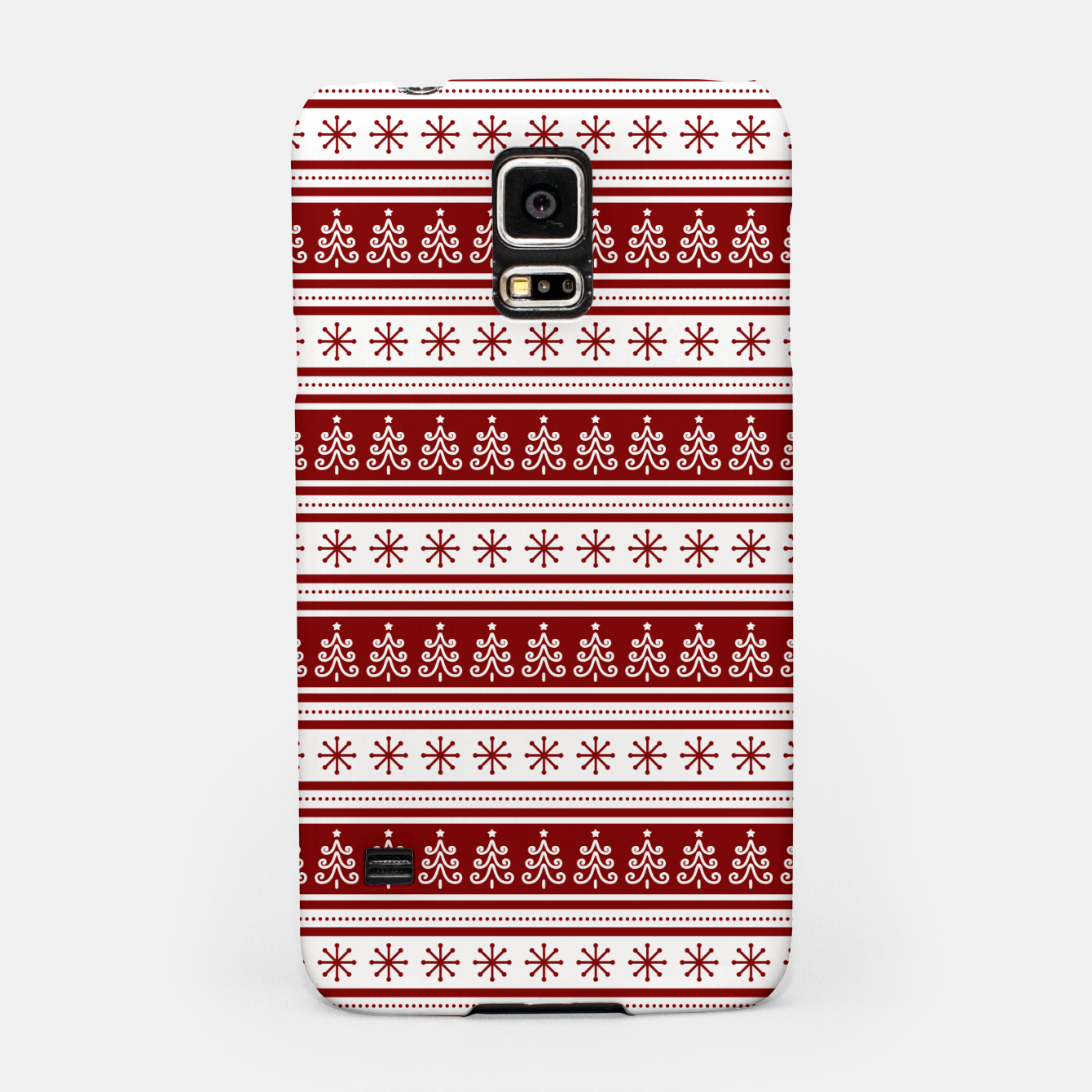Imagen de Dark Christmas Candy Apple Red Nordic Trees Stripe in White Samsung Case - Live Heroes