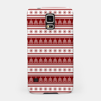 Dark Christmas Candy Apple Red Nordic Trees Stripe in White Samsung Case imagen en miniatura