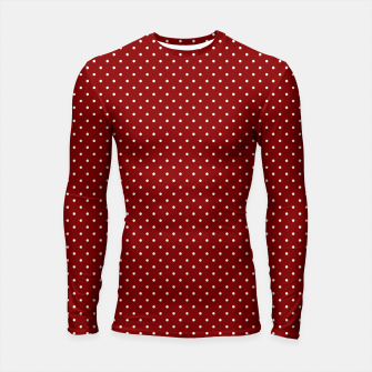 White Polka Dots On Dark Christmas Candy Apple Red Longsleeve rashguard  imagen en miniatura
