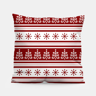 Large Dark Christmas Candy Apple Red Nordic Trees Stripe in White Pillow imagen en miniatura