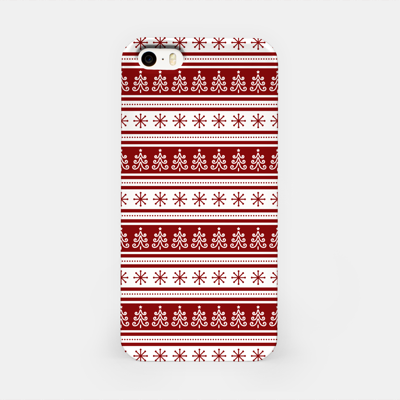 Imagen de Dark Christmas Candy Apple Red Nordic Trees Stripe in White iPhone Case - Live Heroes