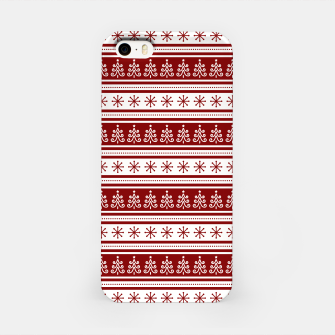 Dark Christmas Candy Apple Red Nordic Trees Stripe in White iPhone Case imagen en miniatura