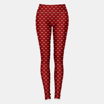 White Polka Dots On Dark Christmas Candy Apple Red Leggings imagen en miniatura