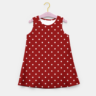 Large White Polka Dots On Dark Christmas Candy Apple Red Girl's summer dress imagen en miniatura