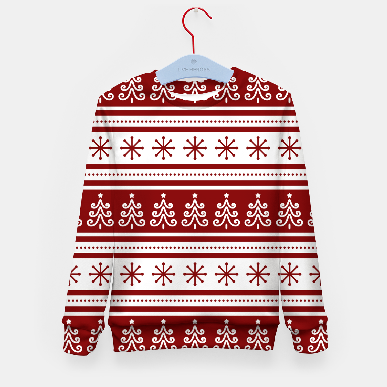 Imagen de Large Dark Christmas Candy Apple Red Nordic Trees Stripe in White Kid's sweater - Live Heroes