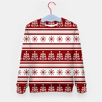 Imagen en miniatura de Large Dark Christmas Candy Apple Red Nordic Trees Stripe in White Kid's sweater, Live Heroes