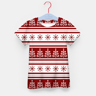 Large Dark Christmas Candy Apple Red Nordic Trees Stripe in White Kid's t-shirt imagen en miniatura