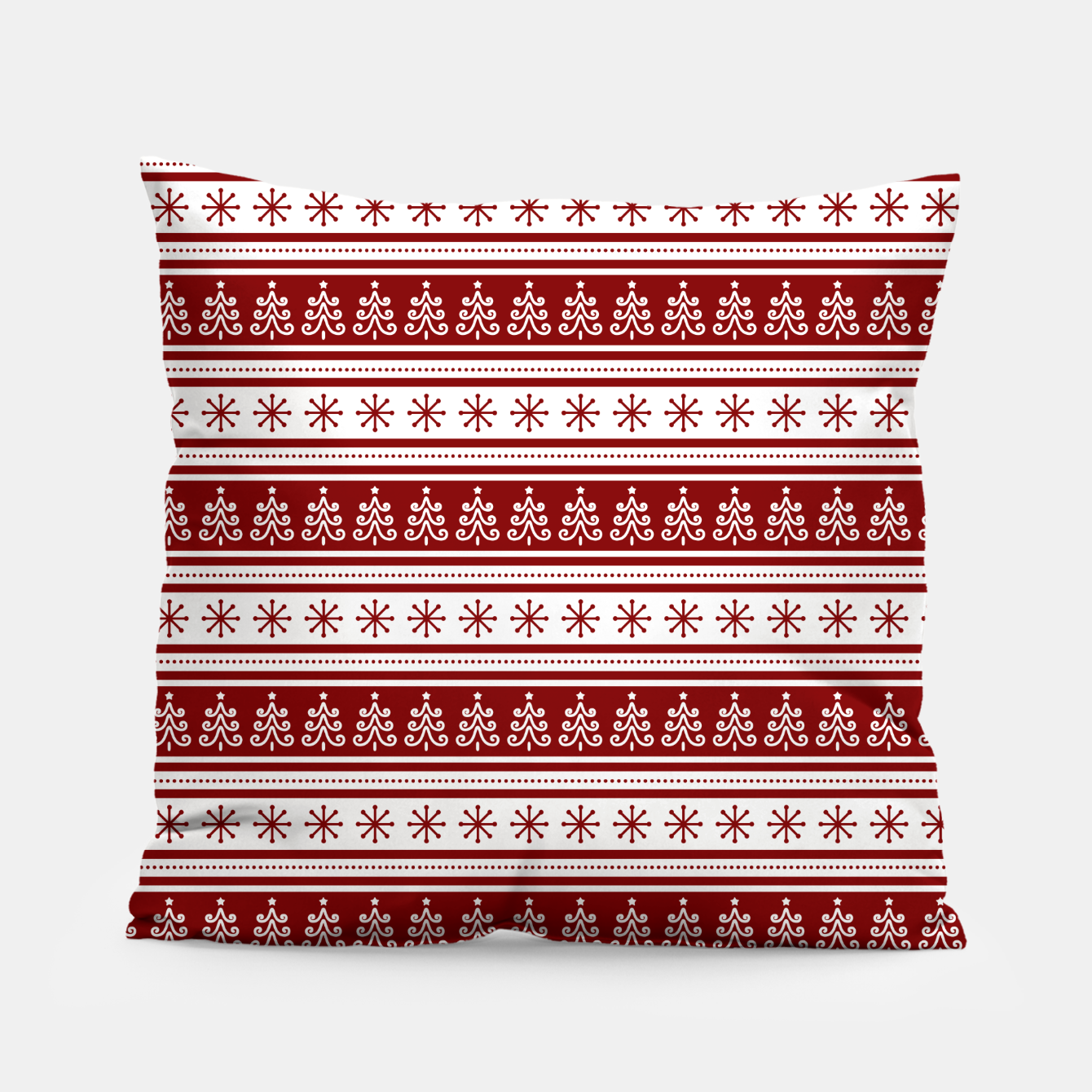 Imagen de Dark Christmas Candy Apple Red Nordic Trees Stripe in White Pillow - Live Heroes