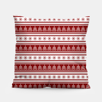 Dark Christmas Candy Apple Red Nordic Trees Stripe in White Pillow imagen en miniatura
