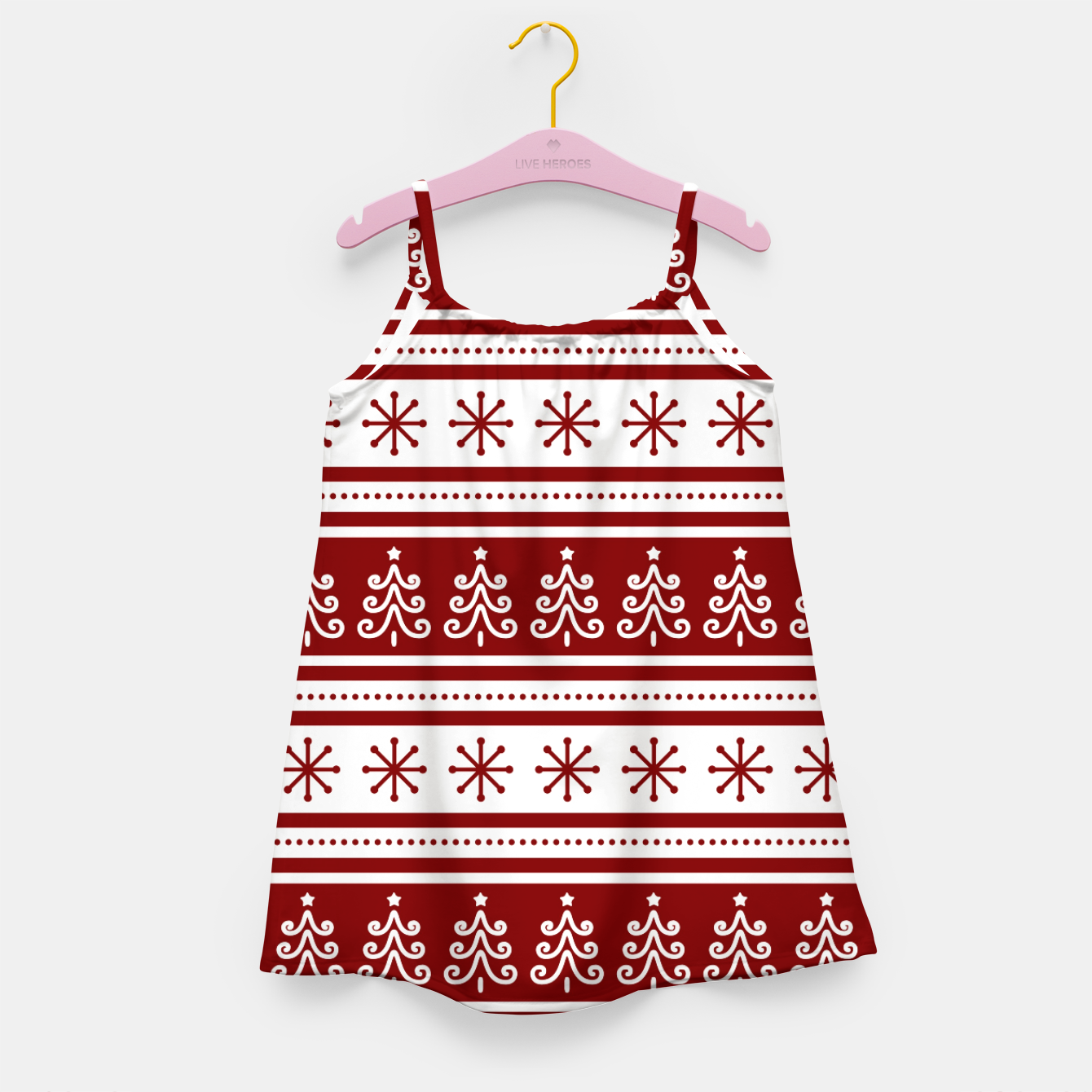 Imagen de Large Dark Christmas Candy Apple Red Nordic Trees Stripe in White Girl's dress - Live Heroes