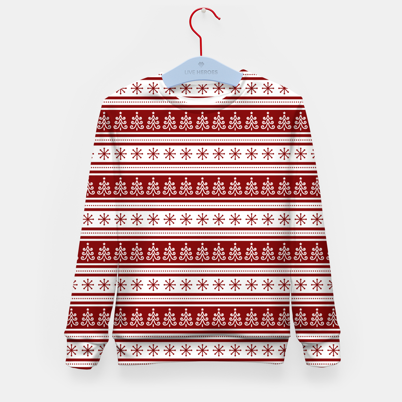 Imagen de Dark Christmas Candy Apple Red Nordic Trees Stripe in White Kid's sweater - Live Heroes