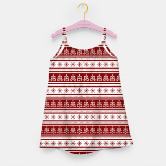 Dark Christmas Candy Apple Red Nordic Trees Stripe in White Girl's dress imagen en miniatura