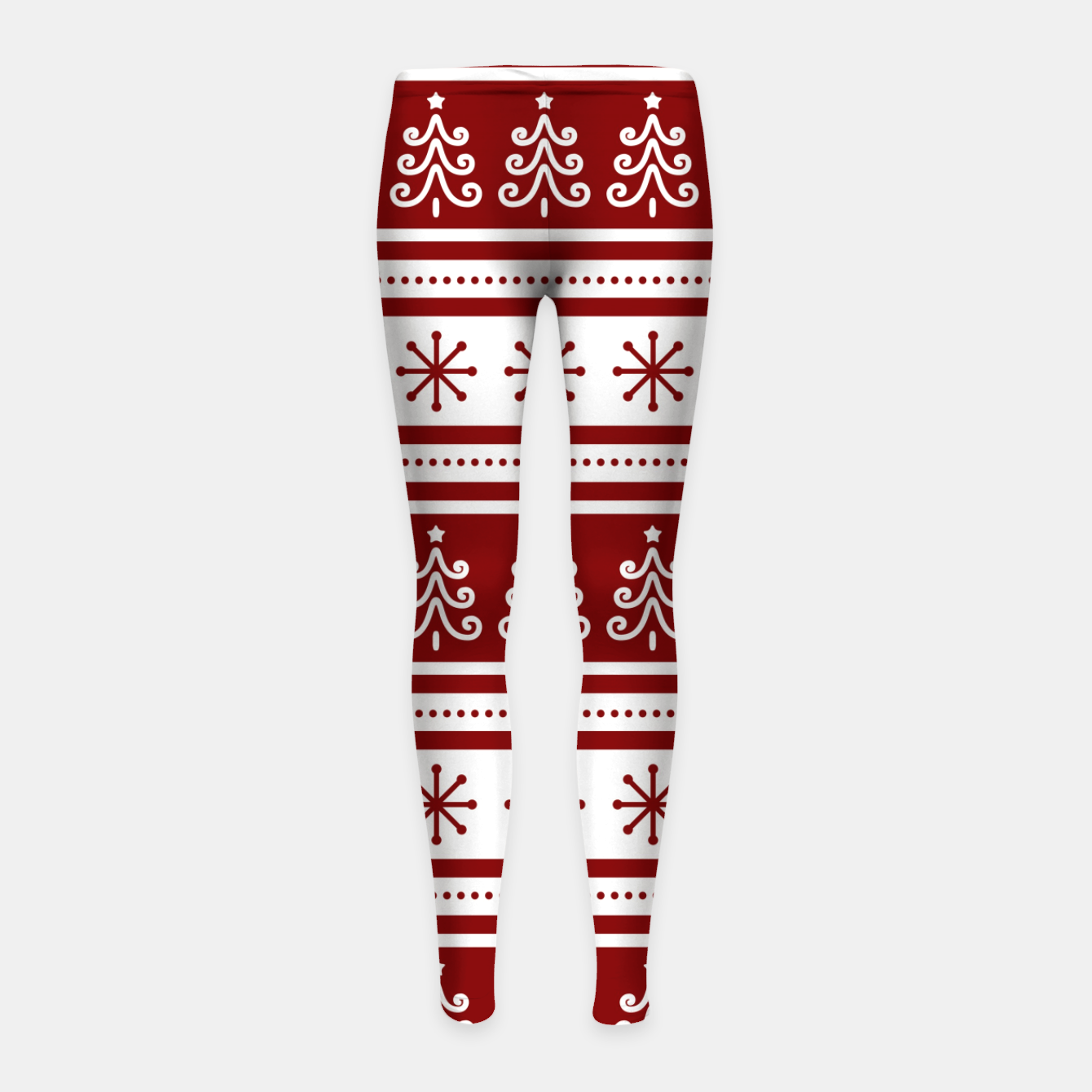 Imagen de Large Dark Christmas Candy Apple Red Nordic Trees Stripe in White Girl's leggings - Live Heroes