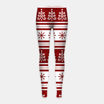 Large Dark Christmas Candy Apple Red Nordic Trees Stripe in White Girl's leggings imagen en miniatura