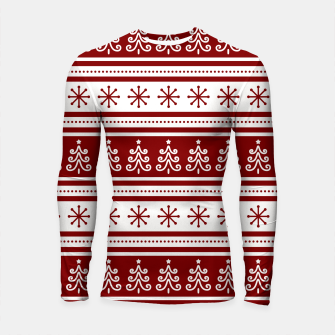 Large Dark Christmas Candy Apple Red Nordic Trees Stripe in White Longsleeve rashguard  imagen en miniatura