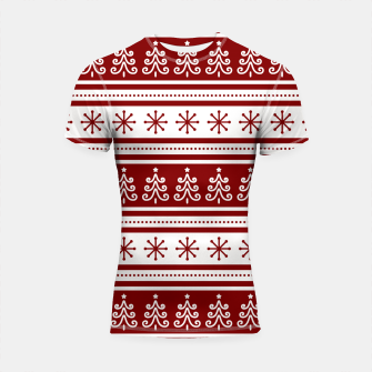 Large Dark Christmas Candy Apple Red Nordic Trees Stripe in White Shortsleeve rashguard imagen en miniatura