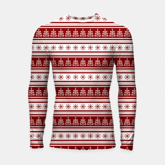 Dark Christmas Candy Apple Red Nordic Trees Stripe in White Longsleeve rashguard  imagen en miniatura