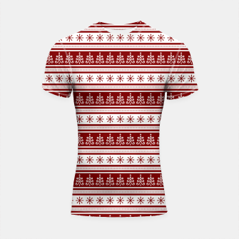 Dark Christmas Candy Apple Red Nordic Trees Stripe in White Shortsleeve rashguard imagen en miniatura