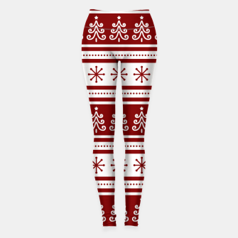 Large Dark Christmas Candy Apple Red Nordic Trees Stripe in White Leggings imagen en miniatura