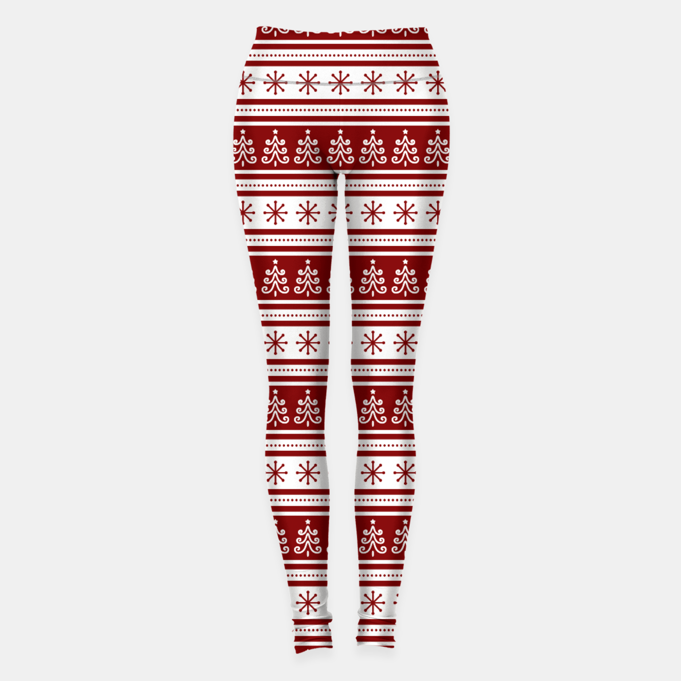 Imagen de Dark Christmas Candy Apple Red Nordic Trees Stripe in White Leggings - Live Heroes