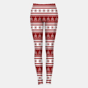 Dark Christmas Candy Apple Red Nordic Trees Stripe in White Leggings imagen en miniatura