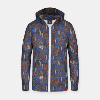 Thumbnail image of Cobalt tropical lush soft Zip up hoodie, Live Heroes