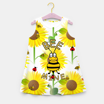 Miniatur Bee Mine Sunflowers Girl's summer dress, Live Heroes