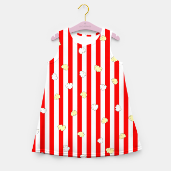 Thumbnail image of Popcorn Red Stripes Girl's summer dress, Live Heroes