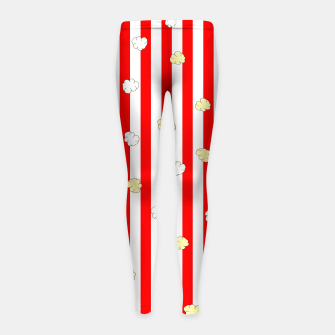 Thumbnail image of Popcorn Red Stripes Girl's leggings, Live Heroes